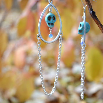 Long Silver Chain and Turquoise Skull Hoop Earrings