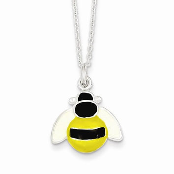 Sterling Silver Enameled Bee Necklace