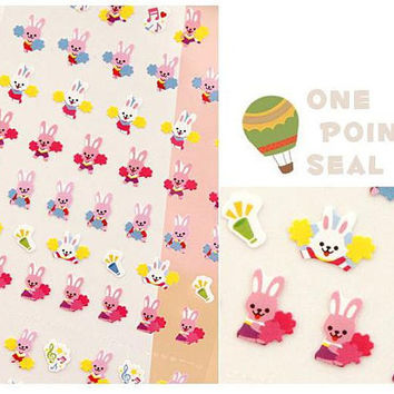 colorful happy rabbit bunny sticker rainbowone point seal cheer lady baby rabbit mini princess fancy doll diy gift card diary 2014 scrapbook