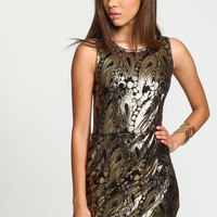 Black Gold Foil Wrap Dress