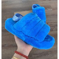 UGG  Women Fashion Fluff Yeah Slides Fur Flats Keep Warm Sandals Slipper Hight Quality Shoes