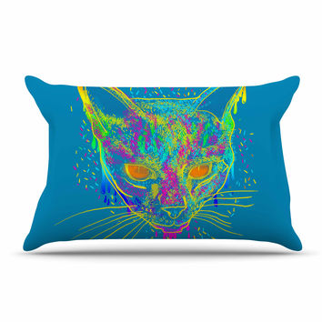 "Frederic Levy-Hadida ""Candy Cat Blue"" Blue Rainbow Pillow Case"