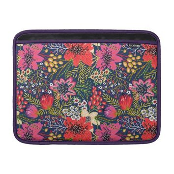 Vintage Bright Floral Pattern Macbook Air Sleeve