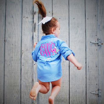 Monogrammed Kids Columbia Fishing Shirt with Lilly Pulitzer Accent