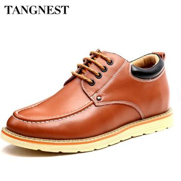 Tangnest Genuine Leather Men Oxford Shoes British Style Bussiness Men Casual Shoes Spring Lace Up Breathable Men Flats XMR2767