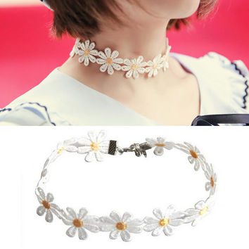 Yellow   White Daisy Flower Choker Chain Necklace Bracelet Headb  Boho Beautiful Tattoo Choker Necklace SM6