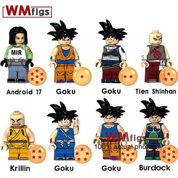 Legoings Dragon Ball Z Figure Goku Colorful Dress Burdock Tienshinhan Android 17 Krillin Brick Building Blocks Toys for Children