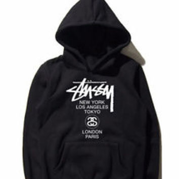 Stussy Hoodie Stussy World Tour Shirt Black Unisex Clothing Size S,M,L,XL #2