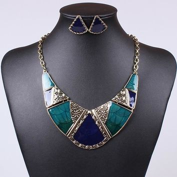 SOLEMEMO Hand-made Transparent Oil Painted African American Costumes Design Fashion Jewelry Set Stud Earrrings ML102863