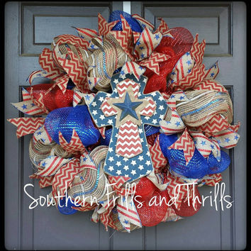 Deco Mesh Wreath-Patriotic Wreath-Summer Wreath-Holiday Wreath-Summer Mesh Wreath-Wreath for Door-Outdoor Wreath-4th of July Wreath