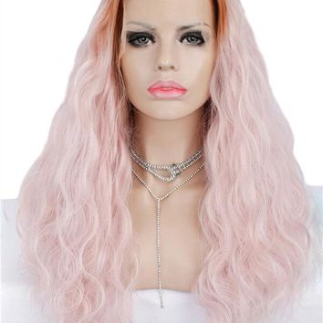 Long Dark Root Sugar Pink Ombre Wave Synthetic Lace Front Wig