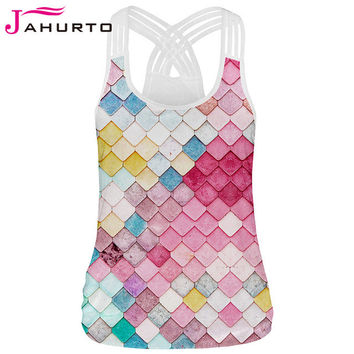 Jahurto Color Block Tank Tops Cute Candy Color Printed O-Neck Sleeveless T-Shirt Sexy Criss-Cross Back Off Shoulder Tops