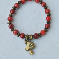 Red bead bracelet; mushroom charm bracelet; stone bracelet; beaded stretch bracelet; caterpillar bracelet; red stone bracelet