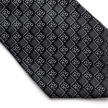 Vintage Tie,BROOKS BROTHERS MAKERs Tie, Silk Tie, Geometric Foulard Tie,Black Grey Tie,Italian Silk Tie,Made in USA,Vintage Mens Accessories