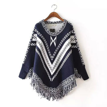 Scarf Tassels Pullover Batwing Sleeve Round-neck Knit Sweater [9052556868]