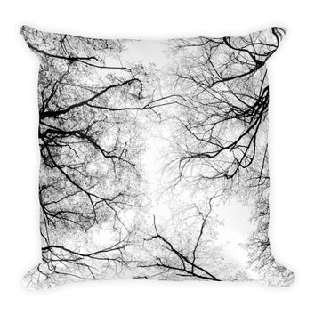 Gothic Black and White Square Throw Pillow Bedroom Living Room