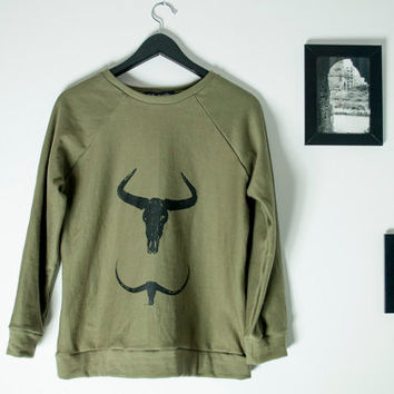 The Horns sweatshirt, Skull horns sweater, Khaki blouse