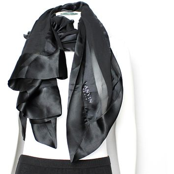 Lanvin XXL Square Silk Scarf Black Silk