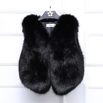 Women Lady Vest Sleeveless Coat Faux Fur Outerwear Long Hair Jacket Waistcoat-2