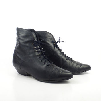 Granny Boots Vintage 1980s Black Wild Pair Ankle Booties Leather Lace Up Women's size 6 1/2 B