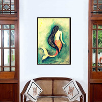 Mermaid painting | Decor wall art | Siren Livingroom Decal | Vintage illustration | Women figurative abstract tropical Sea | girly room gift