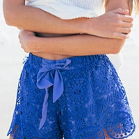 Blue Scallop Lace Shorts