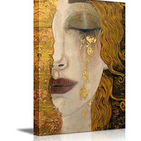 "Wall26 - Freya's Tears by Gustav Klimt - Canvas Print Wall Art Famous Painting Reproduction 24"" x 16"""