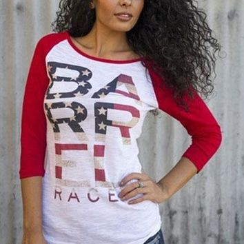 BARREL Racer Americana Baseball Burnout Tee