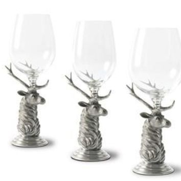 Vagabond House Elk Pewter Stemmed Wine Glasses - Set of 4