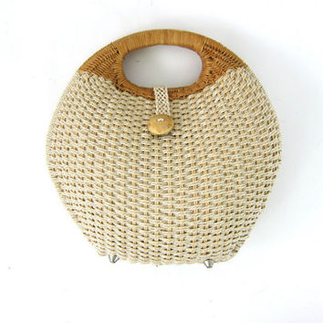 vintage Nantucket Wicker Purse / clutch Handle Purse / Ladies Classic Summer Bag