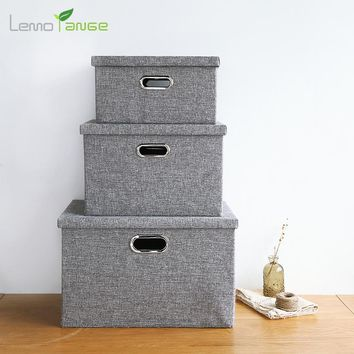 Storage Box Clothing Organizer Lemorange Cotton&Cloth Large Capacity Foldable With Lid Home Storage TQQ0198