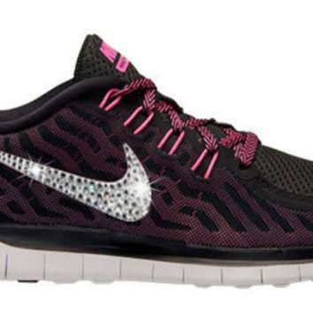 Nike free run 5.0 with swarovski crystals, bling nike free run, blinged Nikes, bling N