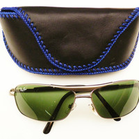balong black leather sun glasses case for belt