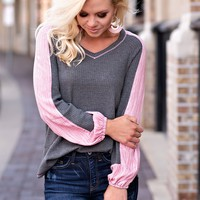 Cool And Casual Waffle Knit Top : Grey/Coral