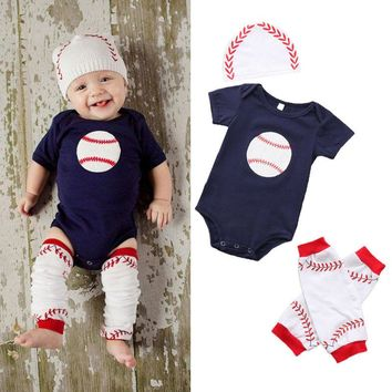 Newborn Baby Boys Girl Rugby Tops Romper Leg Warmers Outfit Set Clothes US Stock