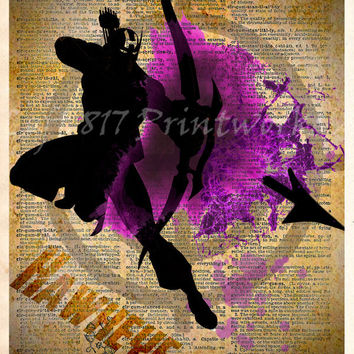 Avengers, Hawkeye art, Vintage Silhouette print,  Super Hero Art, Dictionary print art