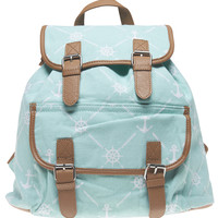 Anchor Print Canvas Backpack | Wet Seal