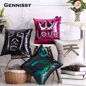 40*40cm Sequin Mermaid Pillowcase Color-Changing Swipe Hand Fun Pillows Two-tone Reversible Writable Sequins Pillow Cover