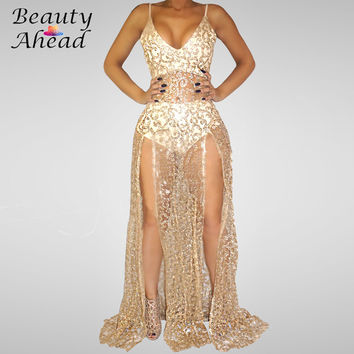2016 summer new Perspective sexy backless dress slit Diamond nightclub sleeveless gold big yards floor-length dresses