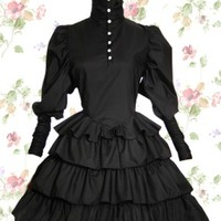 Black Cotton Stand Collar Long Sleeve Knee-length Gothic Lolita Dress With Ruffles
