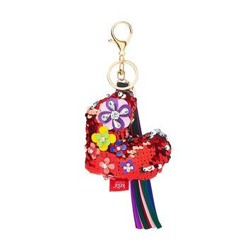 Sequin Heart Keychain With Tassel