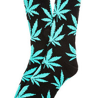The Plantlife Crew Socks in Black & Mint