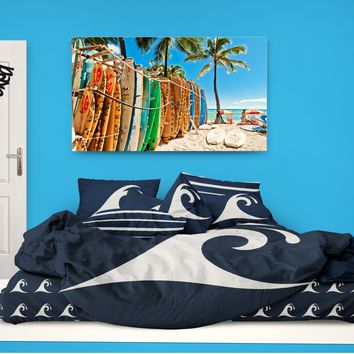 Surfer Bedding Epic Wave Blue Eco Friendly Duvet Cover