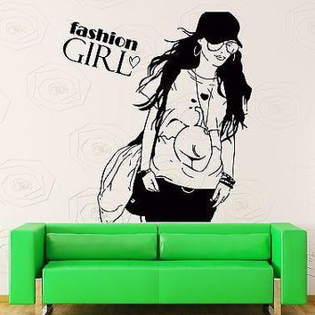 Wall Stickers Vinyl Decal Fashion Girl Teen Woman In Glasses With Purse  Unique Gift (z2171)