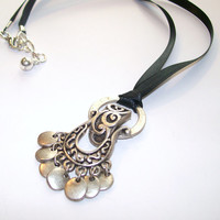 Antiqued Silver Pendant, Steampunk pendant, Black Ribbon Necklace Lobster Claw Clasp, OOAK,