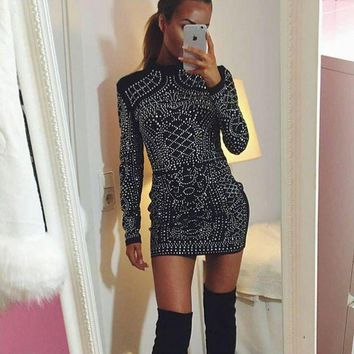 Fashion Women Long Sleeve Studded Party Dress I