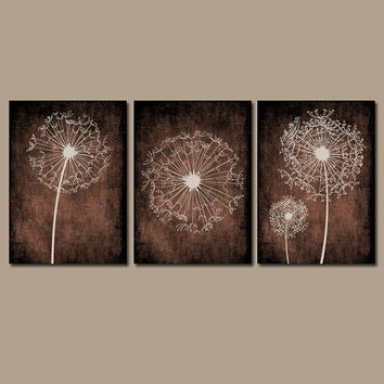 DANDELION Wall Art Prints Flower Artwork Brown Beige Custom Colors Grunge Background Prints Bedroom Wall Art Bathroom Decor Dorm Set of 3