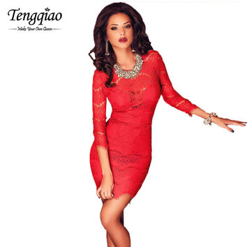 Red Sexy Short Party Dress Mini Tight Lace Bodycon Dress Three Quarter Formal Sexy Club Wear Dress SM6