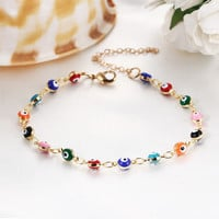 Colorful Turkish Evil Eyes Bracelt Simple Charm Bracelet & Bangle Gold Color Beads Party pulseira masculina
