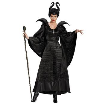 New Adult Deluxe Maleficent Christening Black Gown Halloween Witch Cosplay Fancy Dress Costume Carnival Party Clothing Outfit
